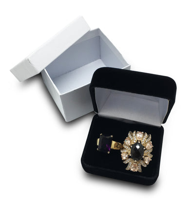 Deluxe Black Double Ring Jewelry Gift Box