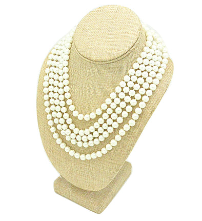 "11""H Deluxe Beige Burlap Necklace Bust Display Necklaces Pendant"