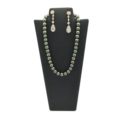 "11 1/2""H Black Leatherette Necklace and Earring  Easel Neckform"