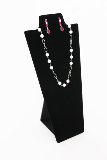"8 7/8""H Tall Black Velvet Necklace and Earring Easel Neckform"
