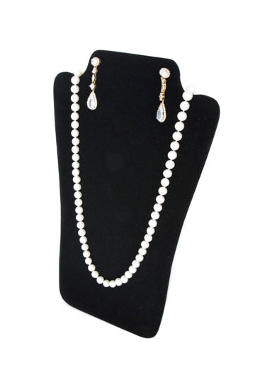 "14 1/8"" Black Velvet Easel Display for Earring and Necklace"