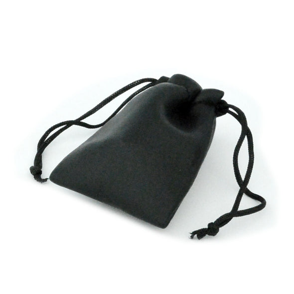 Small Black Leatherette Drawstring Pouch for Jewelry