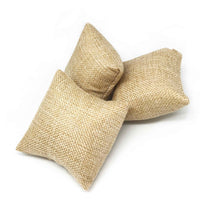 "3"" x 3"" Natural Burlap Pillow Jewelry Display for Bracelet or Watch"