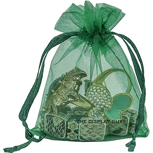"2""x3"" Green Organza Drawstring Pouches 12PCS/PK"