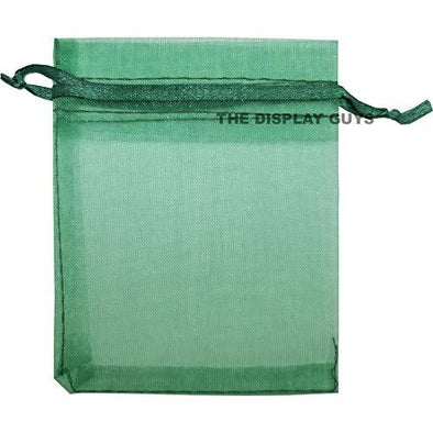 Green Organza Drawstring Pouches