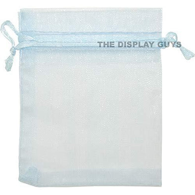 Light Blue Organza Drawstring Pouches