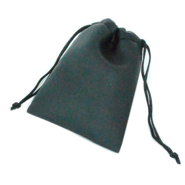 "2 1/2""Wx3 1/2""H  Black Leatherette Drawstring Pouch for Jewelry"