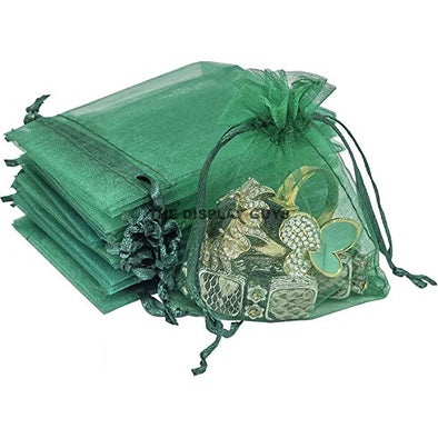 "3""x4"" Green Organza Drawstring Pouches 12PCS/PK"