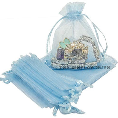 "3""x4"" Light Blue Organza Drawstring Pouches 12PCS/PK"