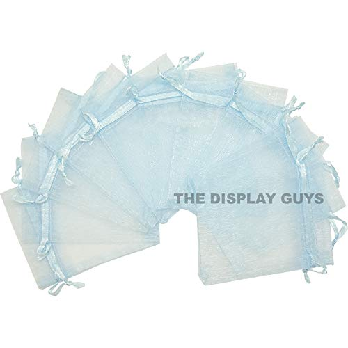 "4""x6"" Light Blue Organza Drawstring Pouches 12PCS/PK"
