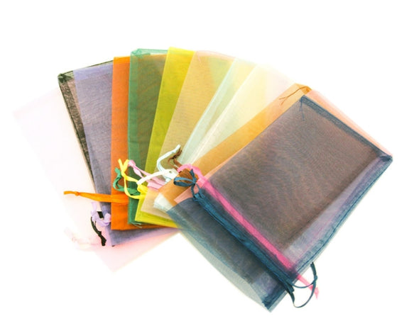 "6x8"" Assorted Sheer Organza Drawstring Jewelry Pouch Gift Bags"