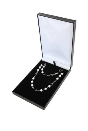 Black Deluxe Leather Necklace Jewelry Display Box
