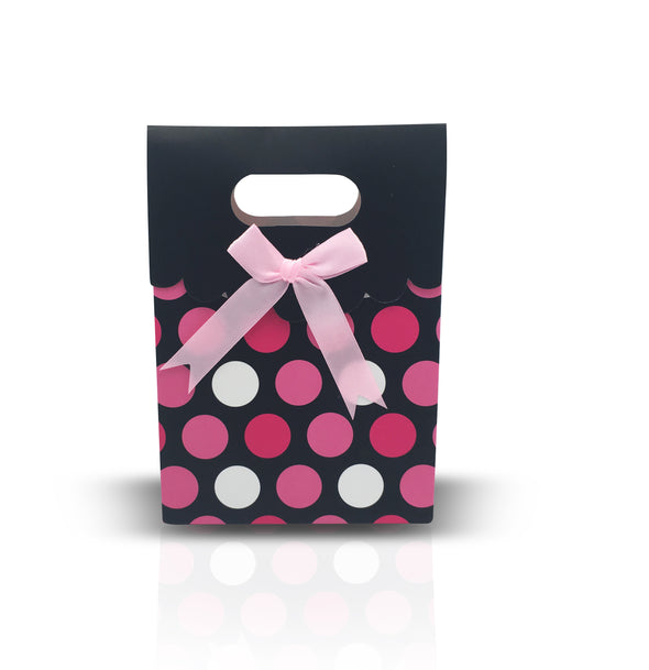 12pcs Black and Pink Polka Dots Shopping Tote  (Medium)