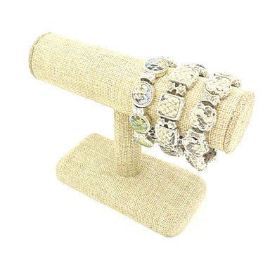 "7 1/2""x5""H Beige Burlap Single Round T-Bar Jewelry Display"
