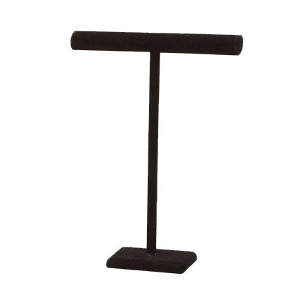 "18""H Black Velvet Single Round T-Bar Tall Jewelry Display"