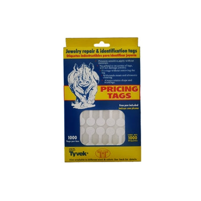 White Tear-Proof Self Sticky Rhino Dumbbell Tags