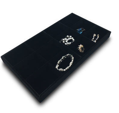 Deluxe Black Velvet 12 Compartment Stackable Jewelry Tray