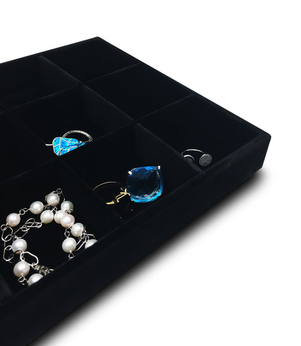 Deluxe Black Velvet 18 Compartment Stackable Jewelry Tray