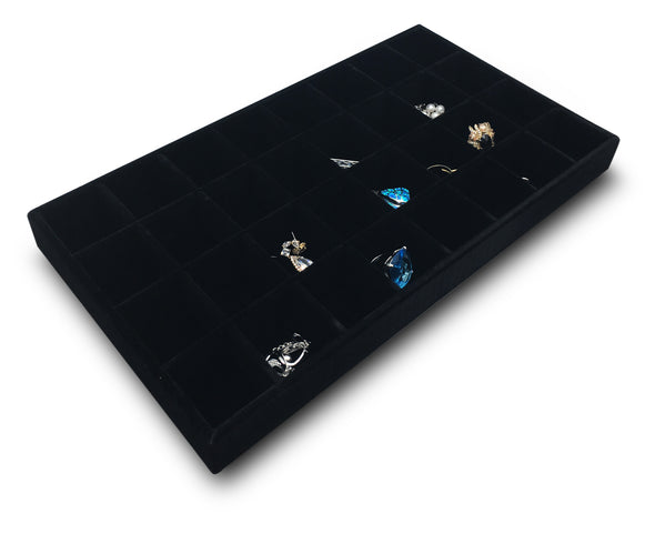 Deluxe Black Velvet 32 Compartment Stackable Jewelry Tray