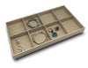 Deluxe Linen Burlap 8 Compartment Stackable Jewelry Display Tray