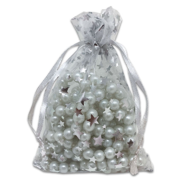 "4"" x 6"" White with Silver Star Organza Drawstring Pouch Gift Bags"