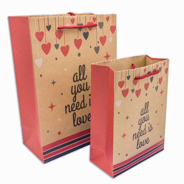 All You Need is Love Kraft Paper Shopping Gift Bags