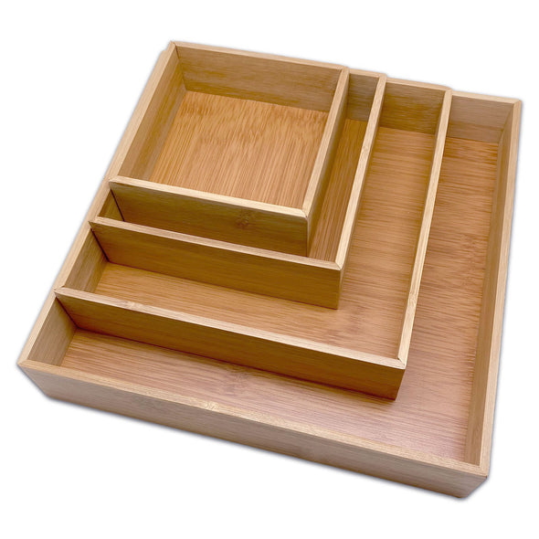 Bam & Boo 4 Piece Bamboo Jewelry Organizer Tray Set