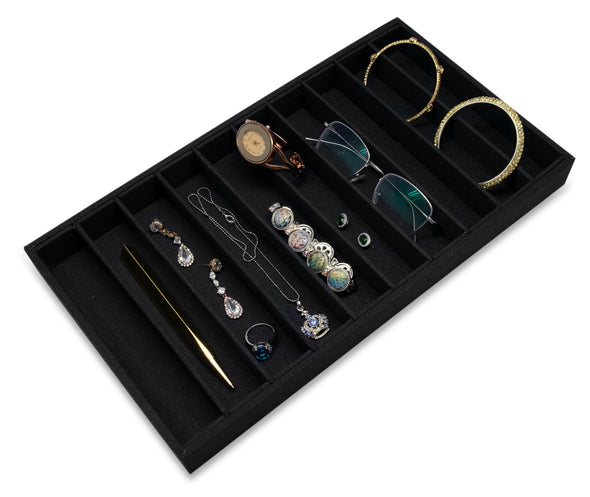 Black Linen 10 Column Compartment Jewelry Display Tray