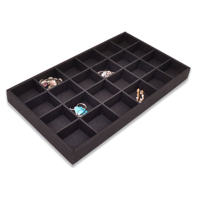 Black Linen 24 Compartment Stackable Jewelry Tray