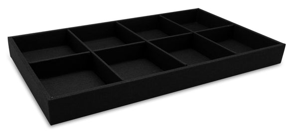 Black Linen 8 Compartment Stackable Jewelry Display Tray