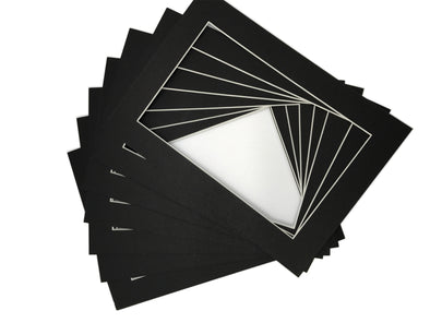 "Pack of 25 Pre-Cut 5""x7"" Black Picture Mat Boards"