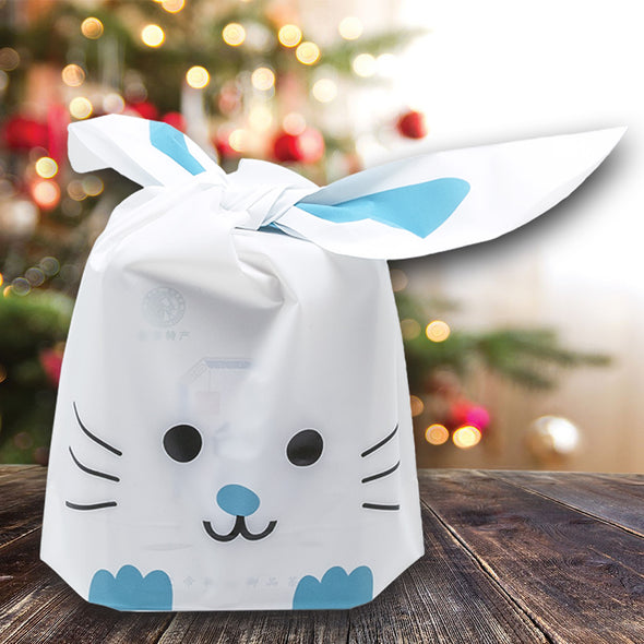 Blue Bunny Emoji Flap-Tie White Plastic Gift Bags