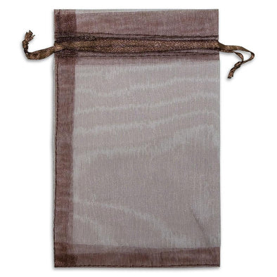 Brown Organza Drawstring Pouches
