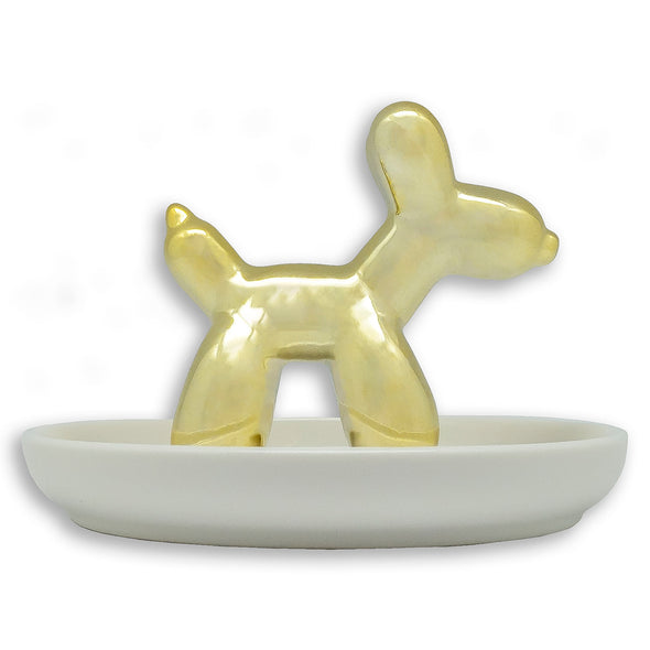 Ceramic Gold Balloon Dog Jewelry Dish