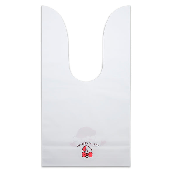Christmas Snowman Flap-Tie White Plastic Gift Bags