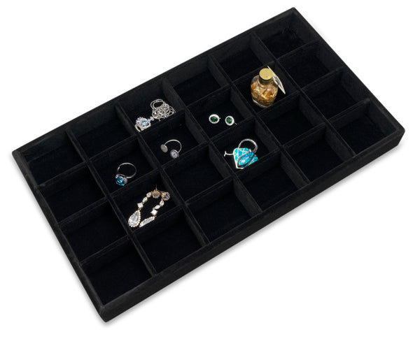 Deluxe Black Velvet 24 Compartment Stackable Jewelry Tray