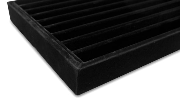 Deluxe Black Velvet 9 Row Compartment Jewelry Display Tray