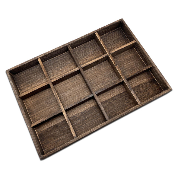 12 Compartment Wood Jewelry Display Tray