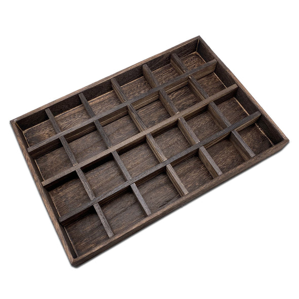 24 Compartment Wood Jewelry Display Tray