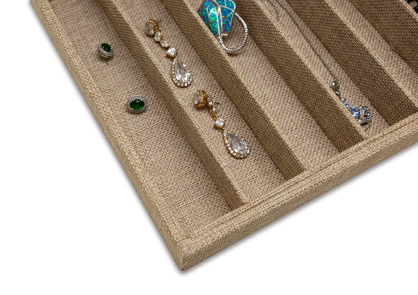 Deluxe Linen Burlap 10 Column Compartment Jewelry Display Tray