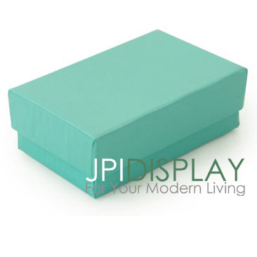 "2 5/8W""x 1 1/2""D x 1"" H Teal Green Cotton Filled Paper Box"