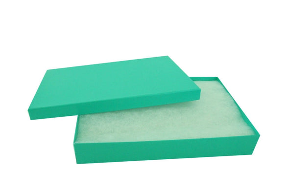 "5 3/8""x3 7/8""x1"" Teal Green Filled Paper Box"