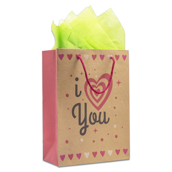 I Heart You Kraft Paper Shopping Gift Bags