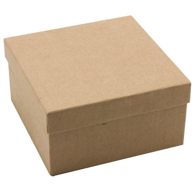 "3 3/4""x3 3/4""x2""H Kraft Cotton Paper Box"
