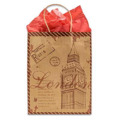 Kraft Paper Big Ben Shopping Merchandise Gift Bags