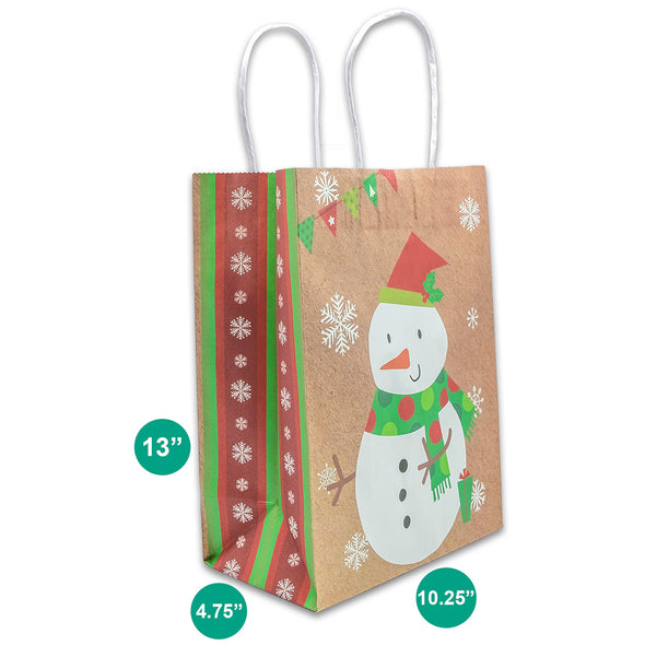 Kraft Paper Christmas Snowman Shopping Gift Bags