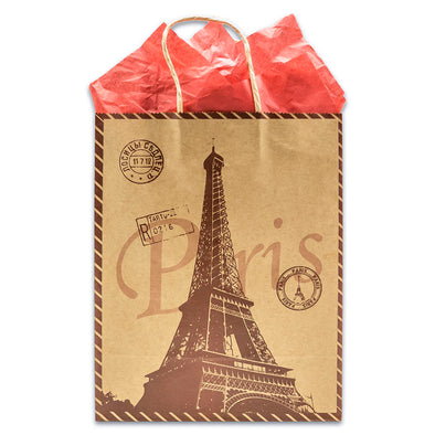 Kraft Paper Eiffel Tower Shopping Merchandise Gift Bags