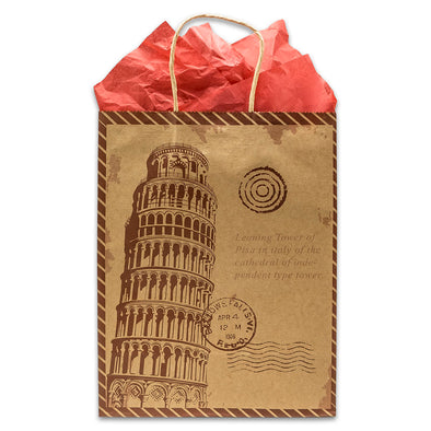 Kraft Paper Leaning Tower of Pisa Shopping Merchandise Gift Bags