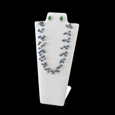 "8 7/8"" Tall White Leatheret Necklace and Earring  Easel Neckform"