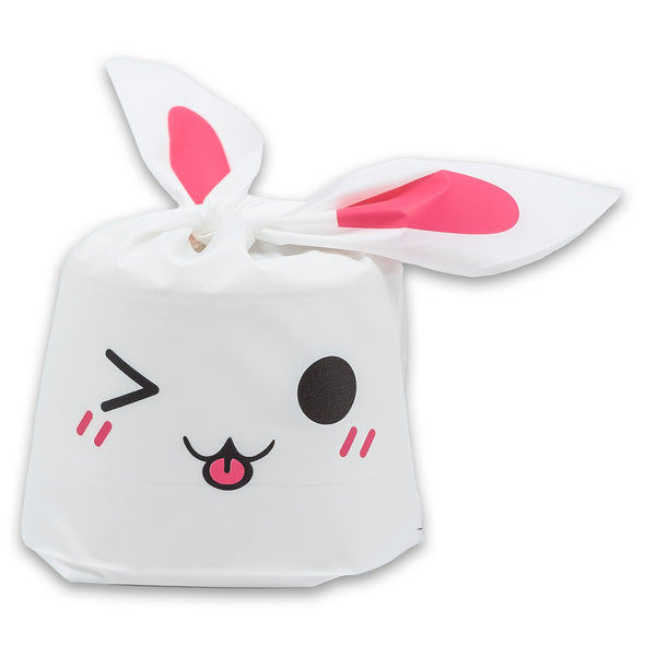 Pink Bunny Emoji Flap-Tie White Plastic Gift Bags